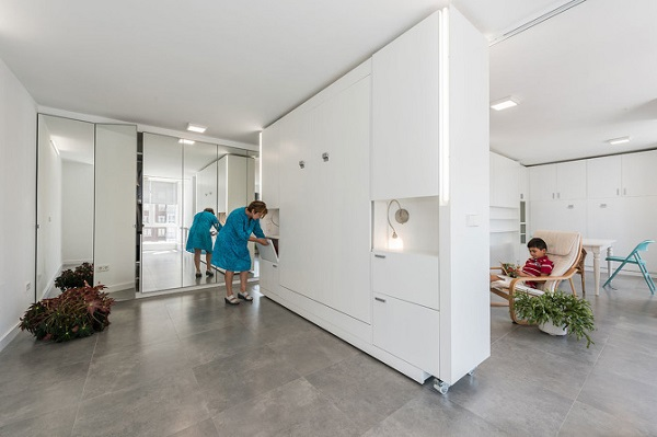 innovative modern apartment has movable walls to create more living