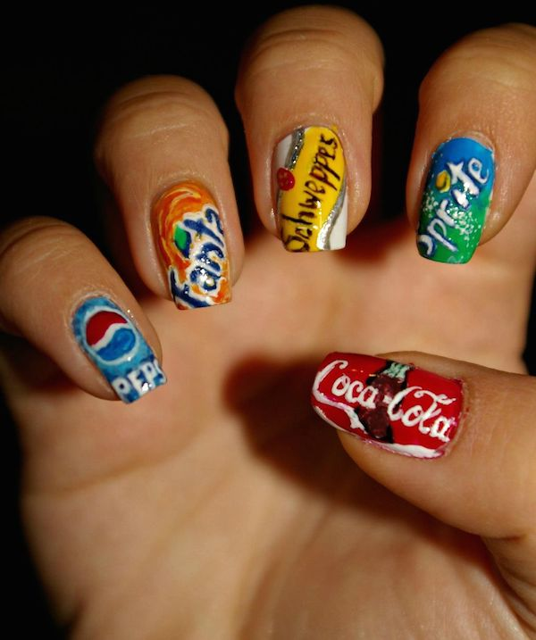 Delightful nail art features cartoon movie characters logos of different drink brands prinsesfo Choice Image