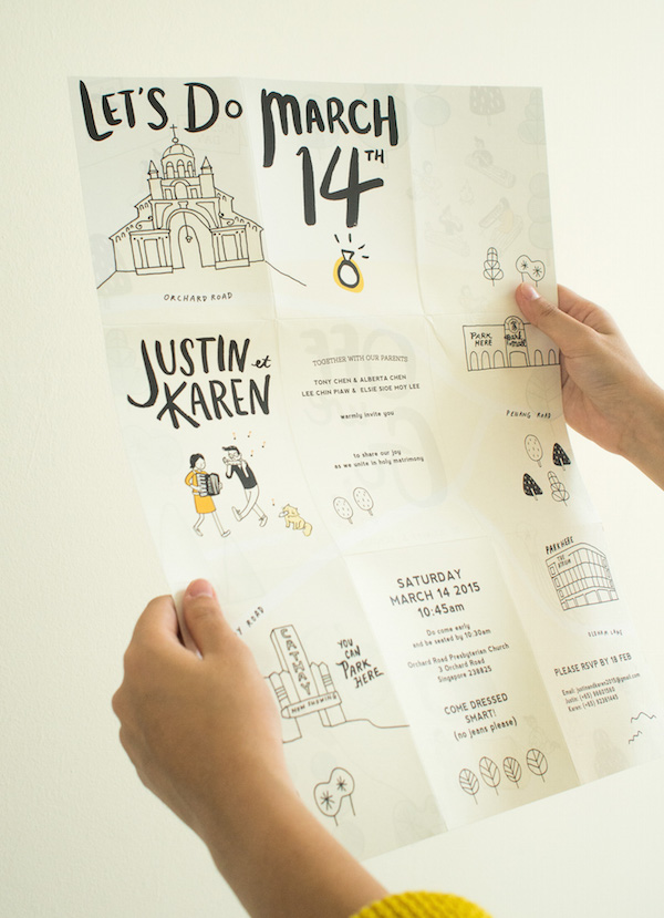 A Quirky Wedding Invitation That Unfolds Into A Cute Hand ...
