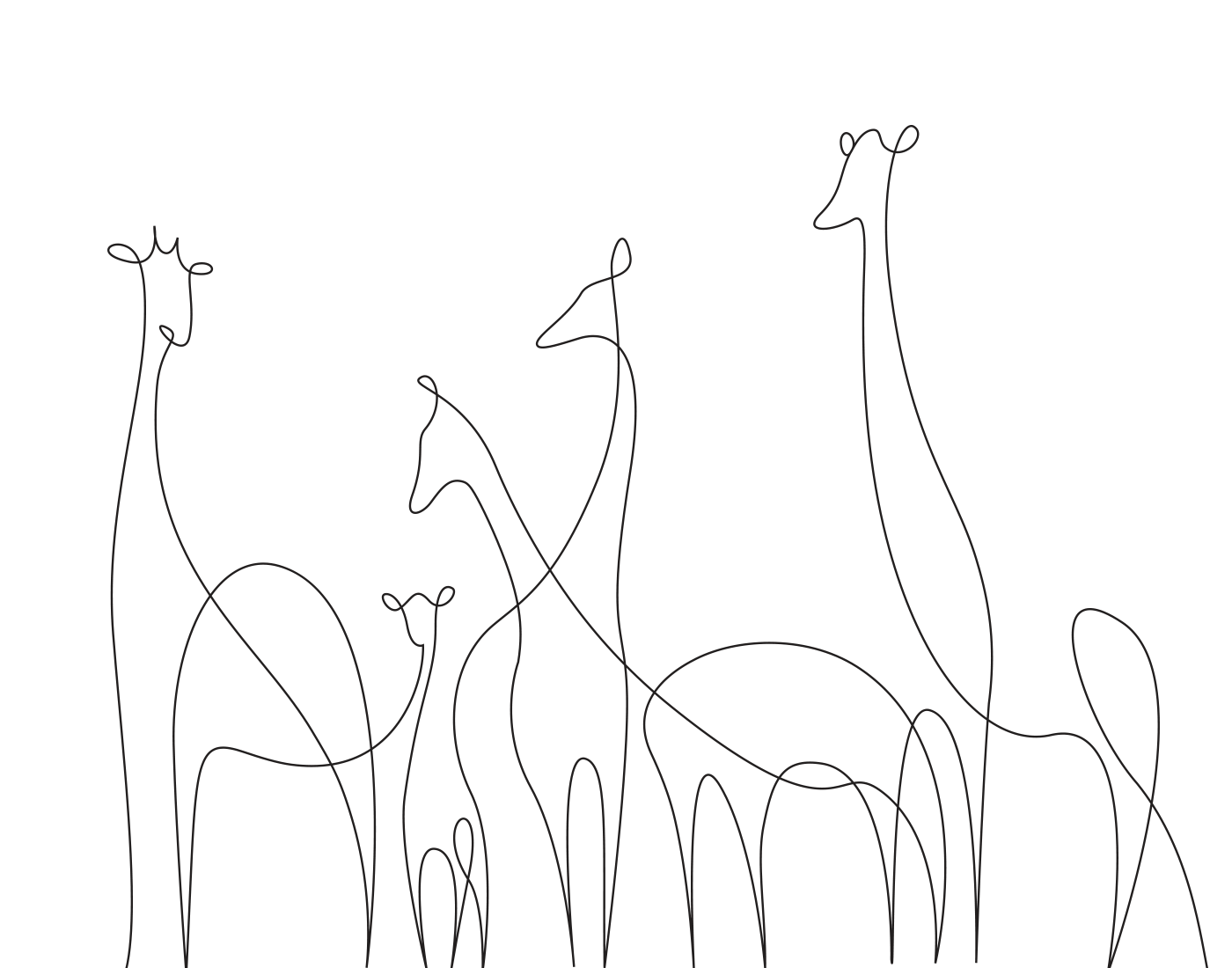 Single Line Drawings Of Animals : Minimal elegant one line drawings illustrate the