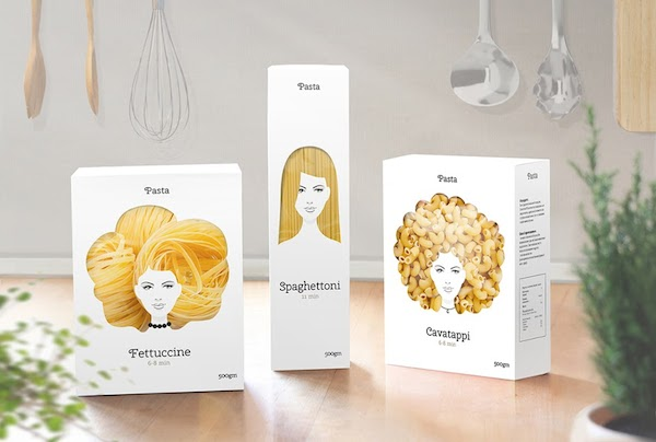 Playful Packaging Concept Turns Different Pasta Types Into Beautiful Hairstyles