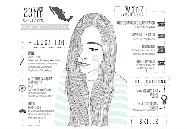 ... Mexico, freelance graphic designer Roco Trevio has created a pretty,  eye-catching CV that also serves as a showcase of her illustration skills.