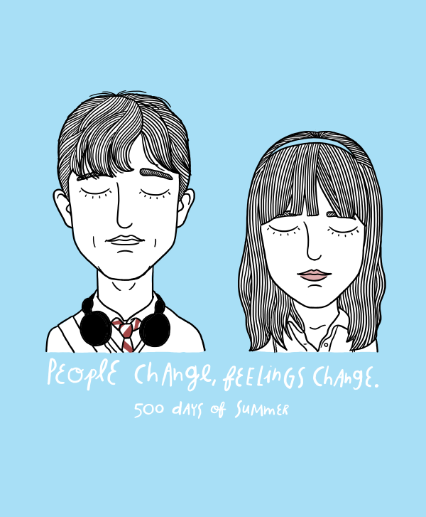 Artist illustrates sad star crossed couples from cult for Architecture drawing 500 days of summer