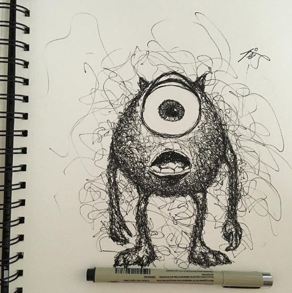 Scribble Drawing Art : Artist creates beautiful and accurate scribble drawings of