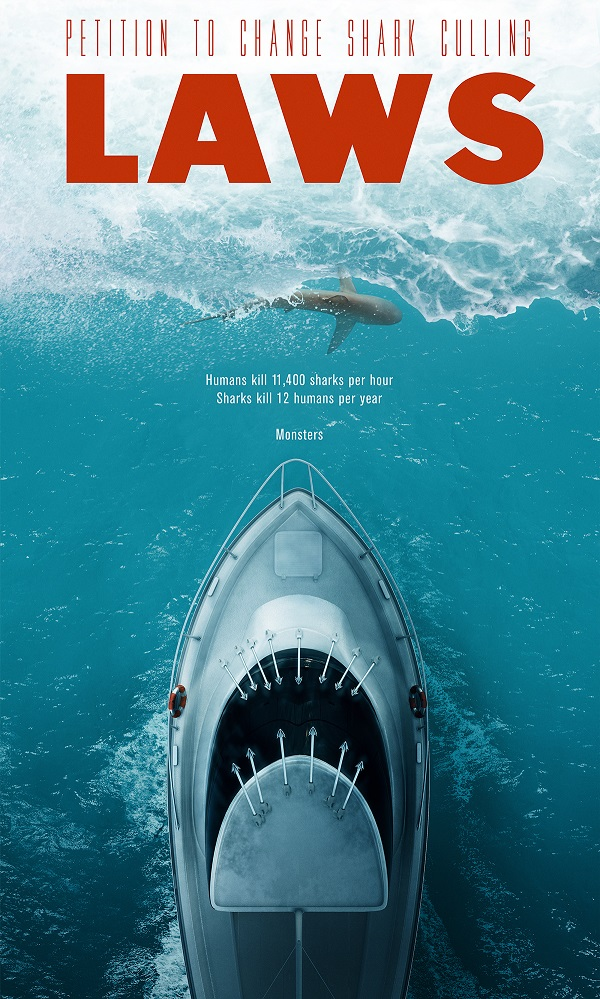 brilliant antishark culling ad mimics iconic �jaws� movie