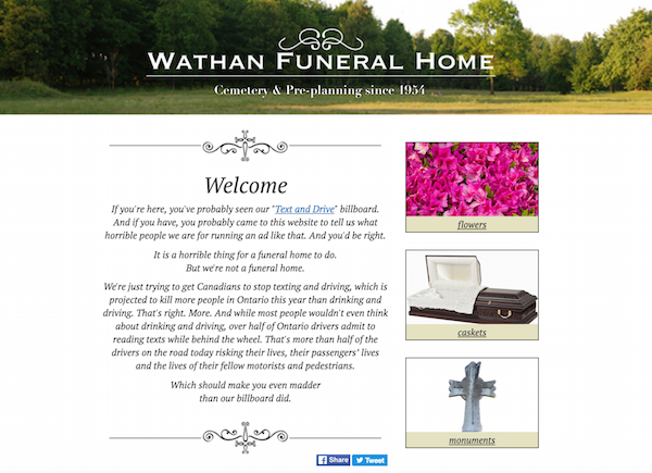 Ingenious psa disguised as funeral home ad asks motorists to text and drive - Funeral home web design ...
