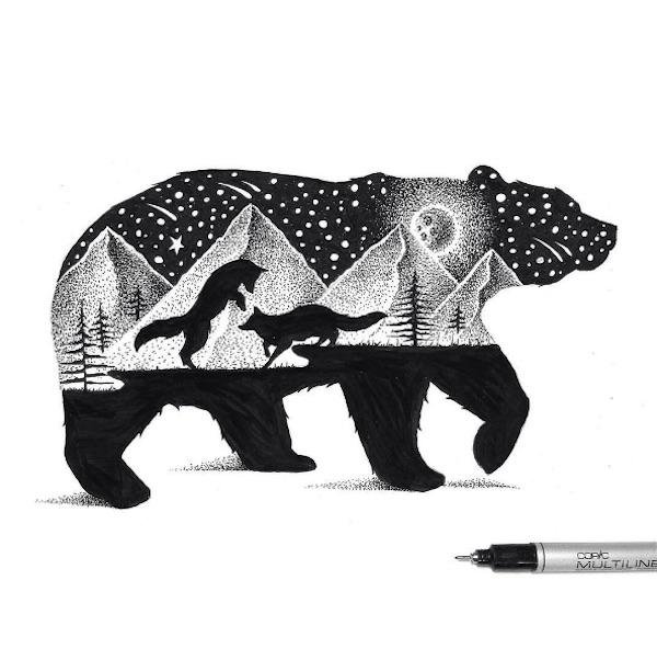 �double exposure� illustrations meticulously drawn using
