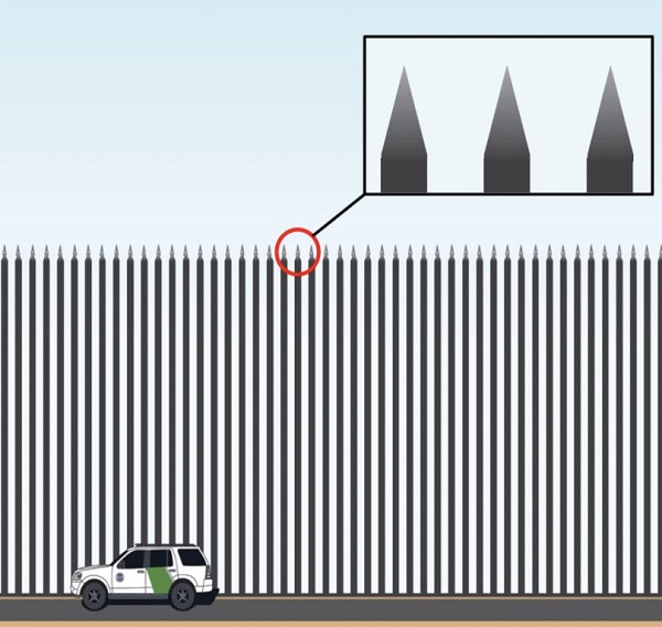 Trump Unveils Beautiful Border Wall Design Spikes