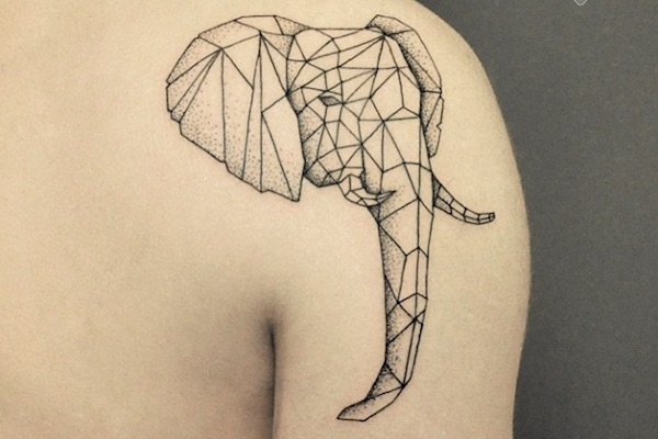 elaborate geometric 3d animal tattoos created with fine lines and dots. Black Bedroom Furniture Sets. Home Design Ideas