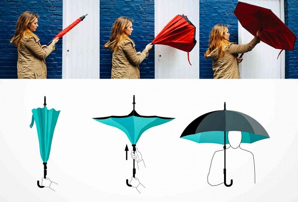Clever C Shaped Handle Inverted Umbrella Lets You Use