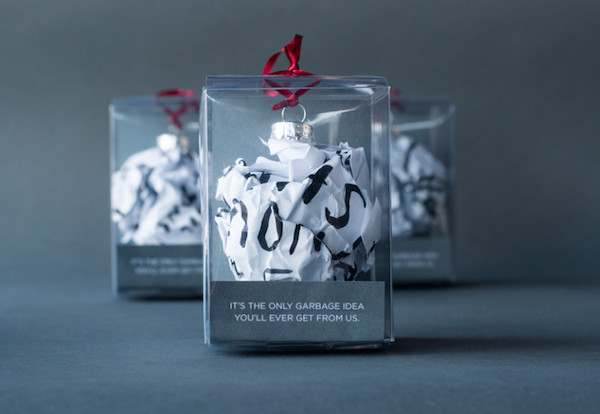 Creative agency turns garbage ideas into clever christmas for Holiday gift ideas clients