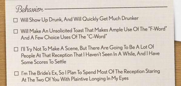 cheeky rsvp card includes hilarious descriptions of horrible wedding