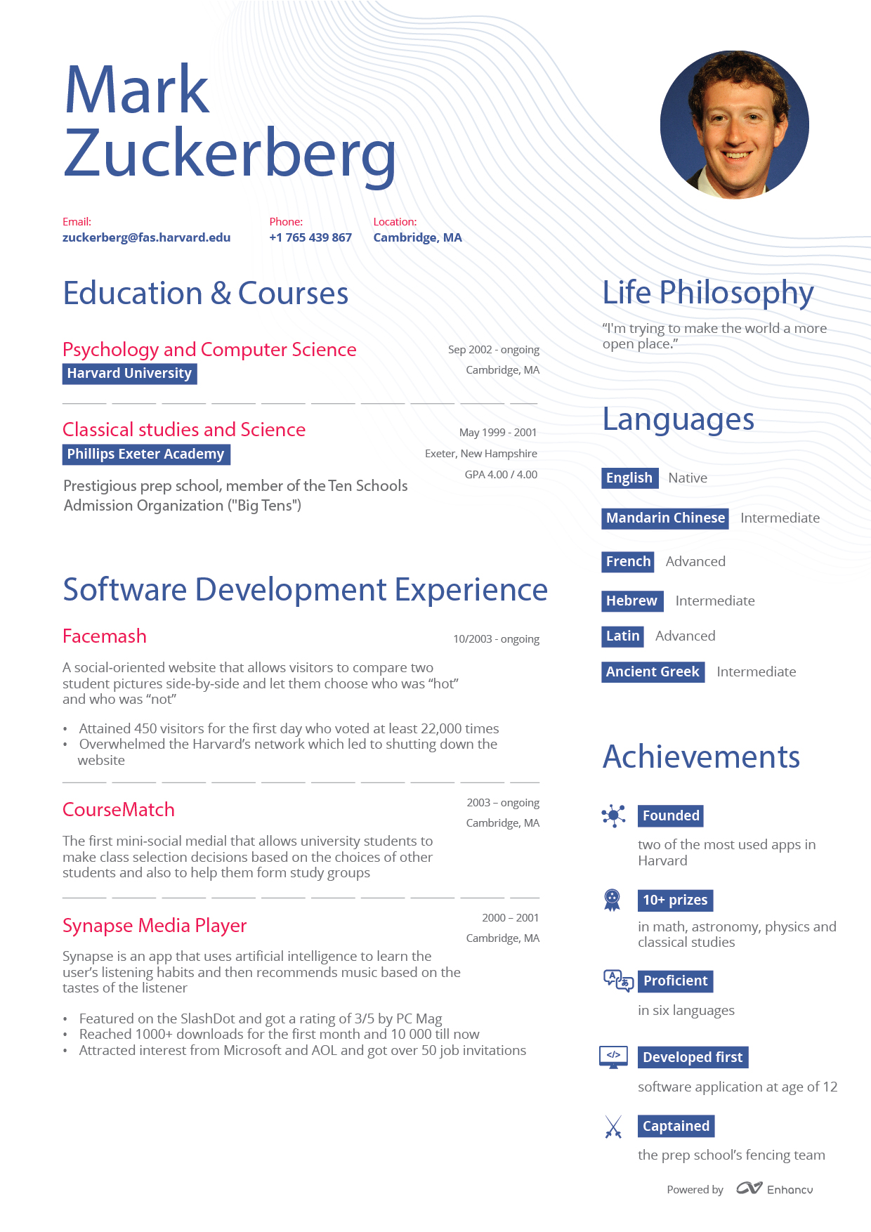 What Mark Zuckerberg\'s Résumé Might Have Looked Like Before Facebook ...