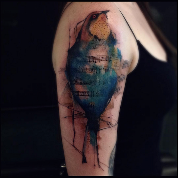 Tattooist Creates Exquisite Watercolor Tattoos With Paintbrush-Like Effects