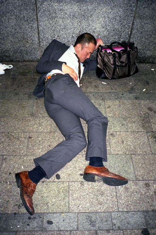 All Suited Up But Asleep On Tokyo S Streets Designtaxi Com