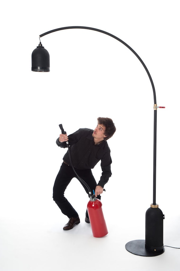 A Stylish Floor Lamp Made Of Old Fire Extinguishers