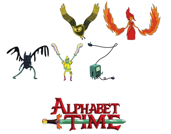 fun alphabet features letters formed with the characters of adventure time