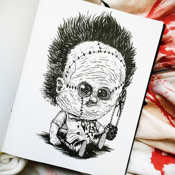 popular horror movie characters illustrated as adorable. Black Bedroom Furniture Sets. Home Design Ideas