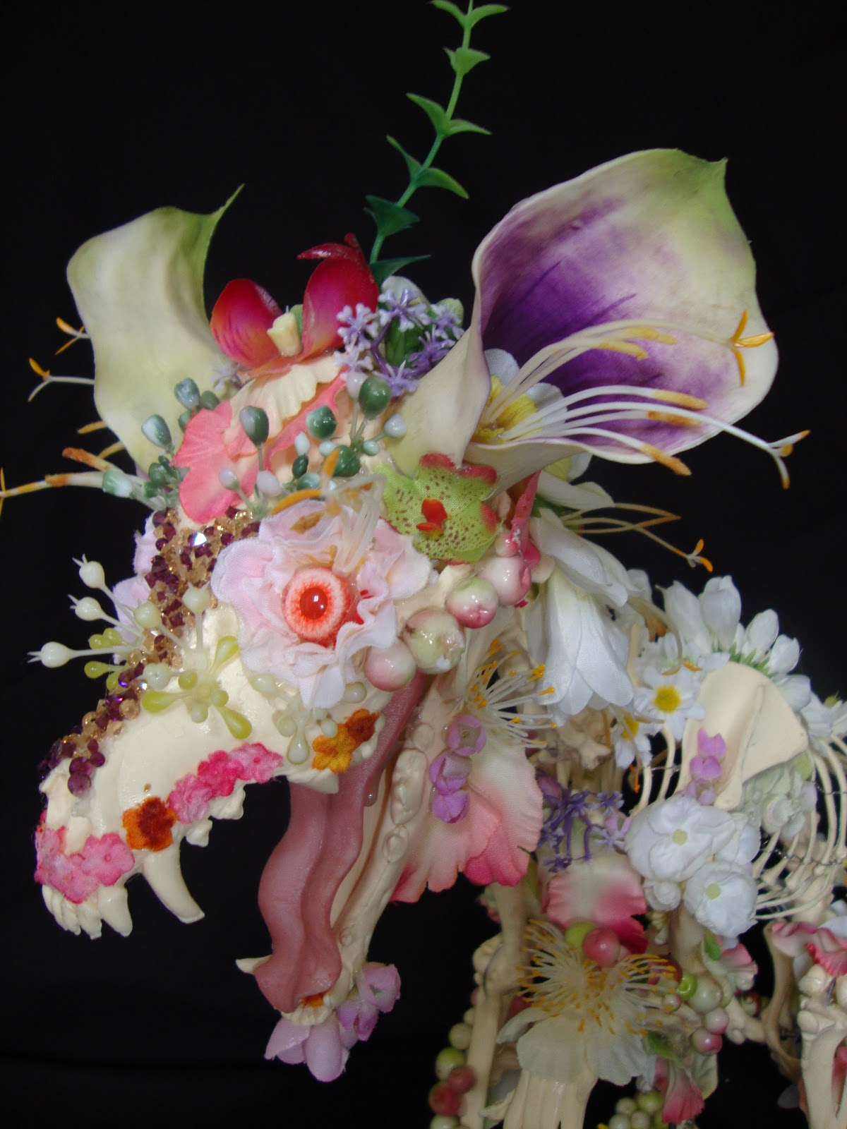 Animal Skeleton Sculptures Decorated With Flowers Designtaxi