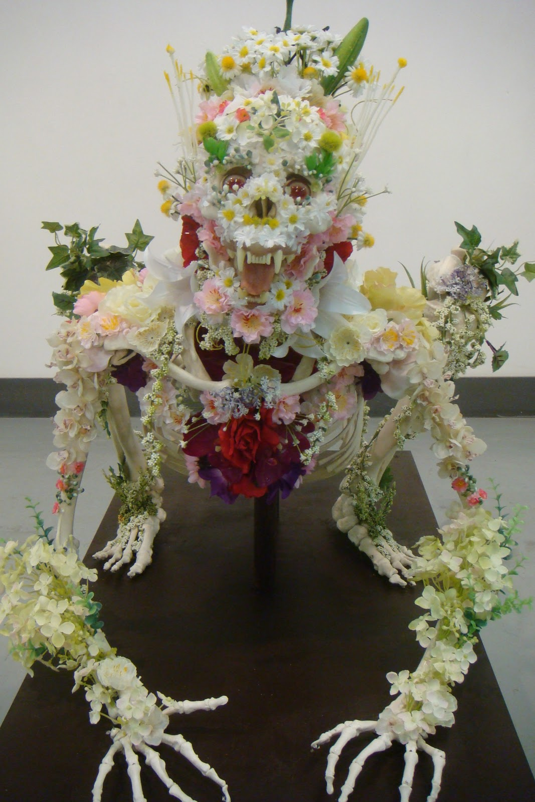 Animal Skeleton Sculptures Decorated With Flowers