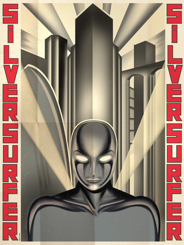superhero posters inspired by art deco. Black Bedroom Furniture Sets. Home Design Ideas