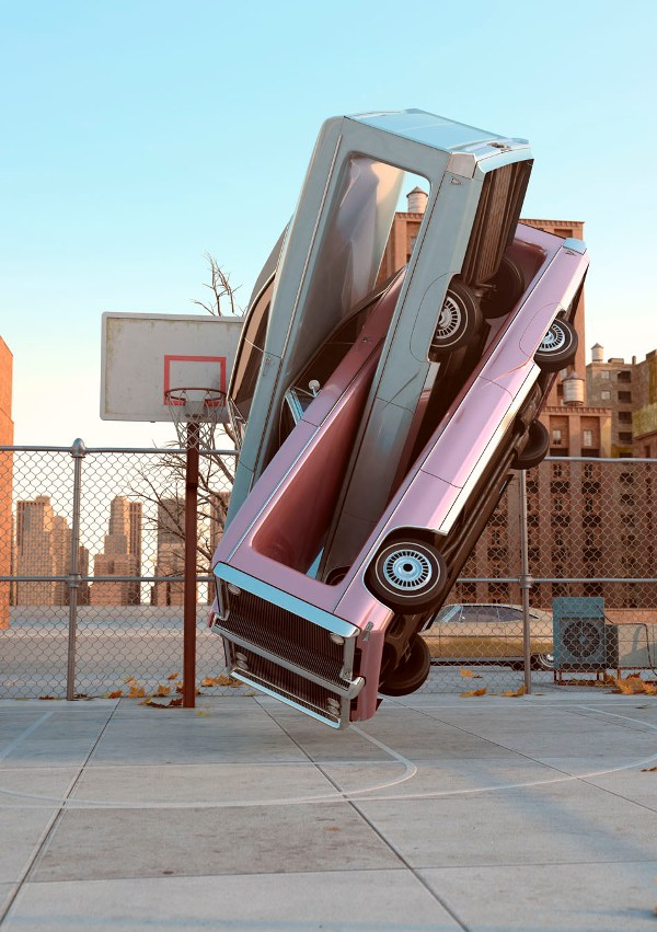 Bizarre 3D Manipulations Of Cars Wrapped Around Each Other In Weird Contortions
