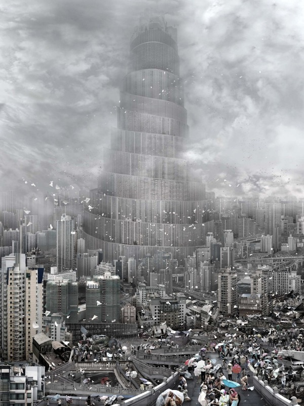 artist reimagines tower of babel as various threats to