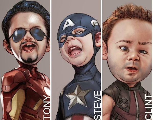 Heres A Fun Series Of Caricature Portraits Featuring Little Avengers The Art Was Done By Ben Oliver And As You Can See All Of The Comic Book Heroes Have