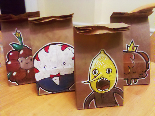Creative Cartoon Illustrations Drawn On Paper Lunch Bags