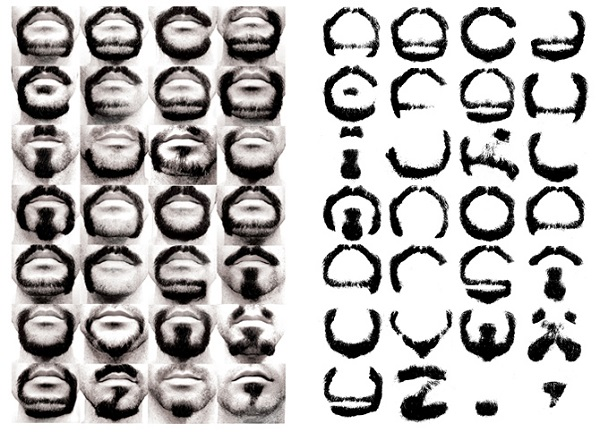 artist uses his beard to form the letters of the alphabet