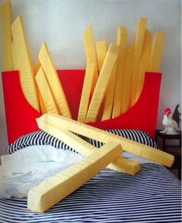 A bed with a headboard that looks like a packet of french for Cool bed head ideas