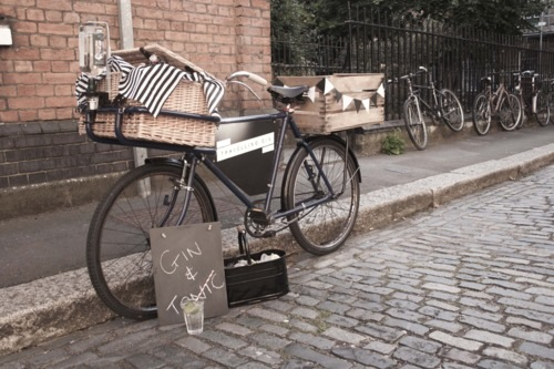 Travelling Bar On A Bicycle For Cocktails On Wheels