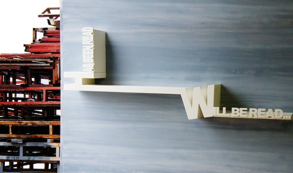 Read Book Shelf a bookshelf made of typography - designtaxi