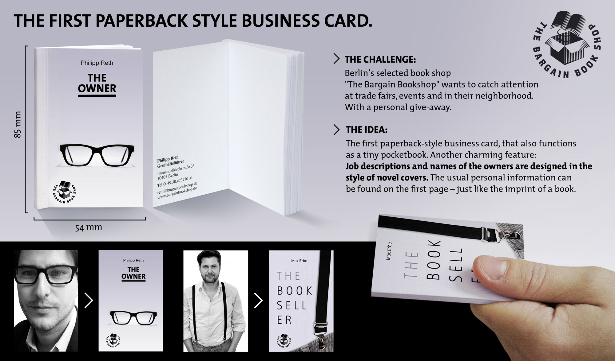 bookshop hands out business cards that look like mini paperbacks