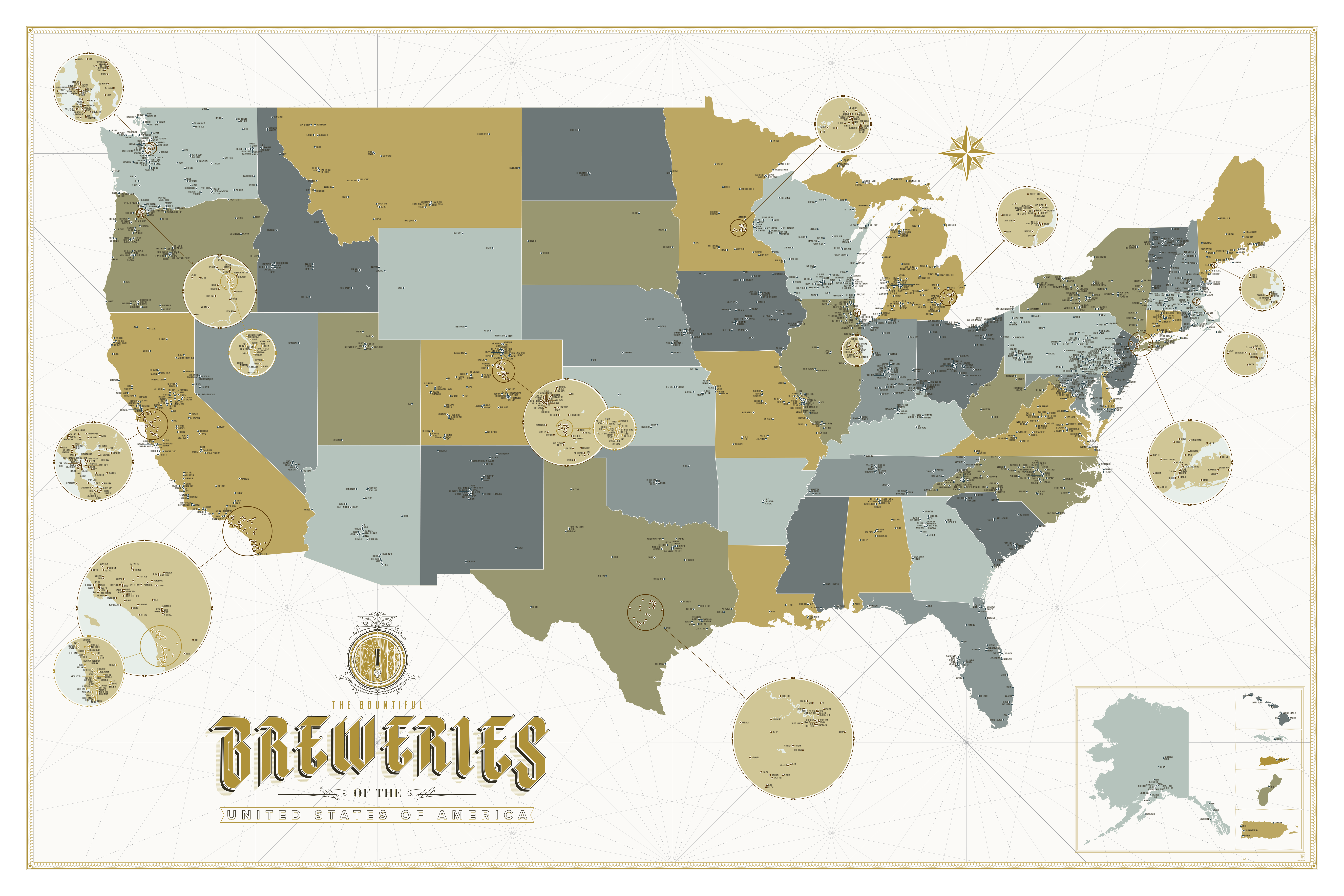 Map The Bountiful Breweries Of The United States Of America - Interactive map of usa game