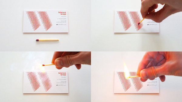 Clever business card features a striking surface lets you start a clever business card features a striking surface lets you start a fire designtaxi colourmoves