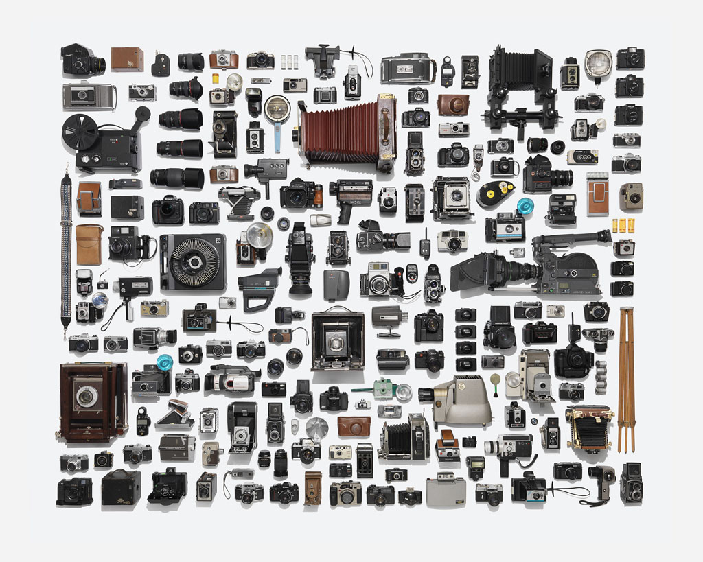 Photographer neatly arranges huge collection of camera for Ip camera design tool