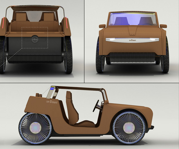 A concept for a lightweight disposable cardboard car for How to make a cardboard box car that moves