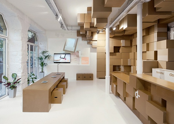 A Store That Is Furnished With Nothing But Cardboard