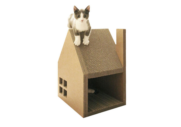 minimalist stylish cardboard cat house doubles as a. Black Bedroom Furniture Sets. Home Design Ideas