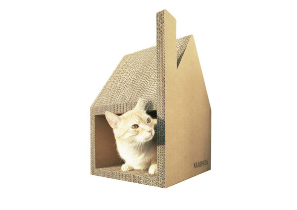 Minimalist stylish cardboard cat house doubles as a scratching post - Designer cat scratcher ...