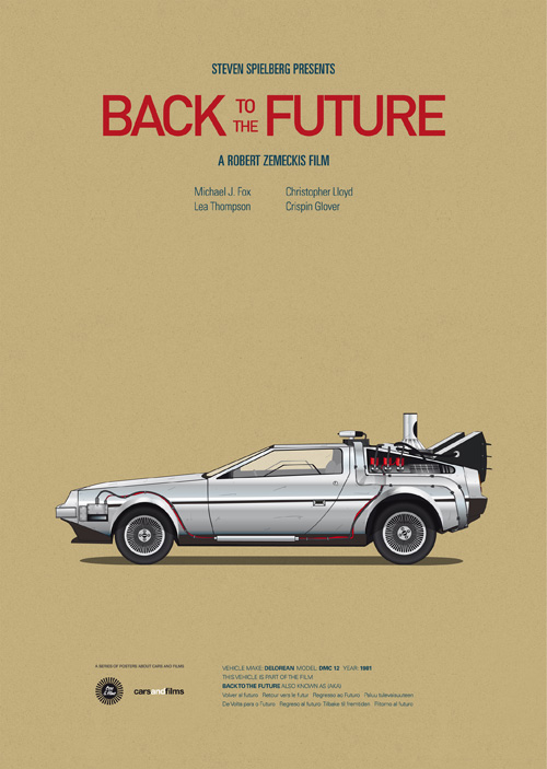 Colorful Posters of Cars From Popular Movies