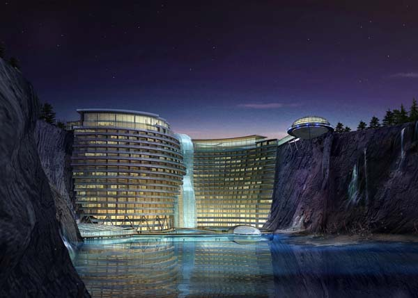 Hotel Accompanied With Waterfall To Be Built In Abandoned Chinese Quarry