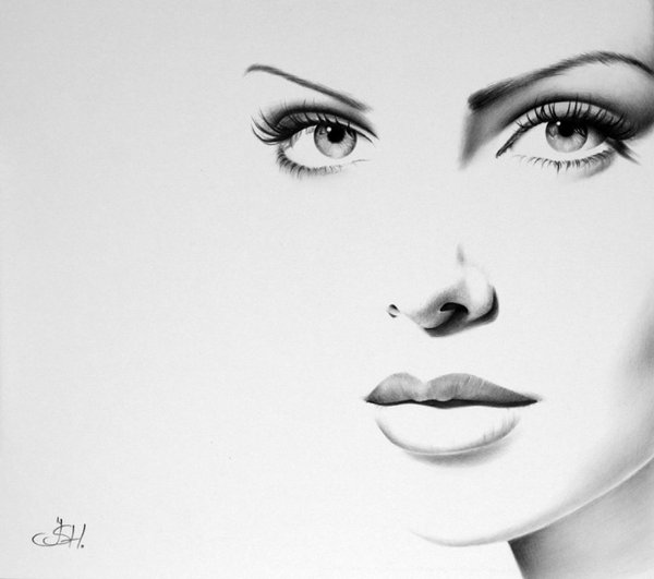 Gorgeous half drawn portraits of female celebrities for Minimal art face