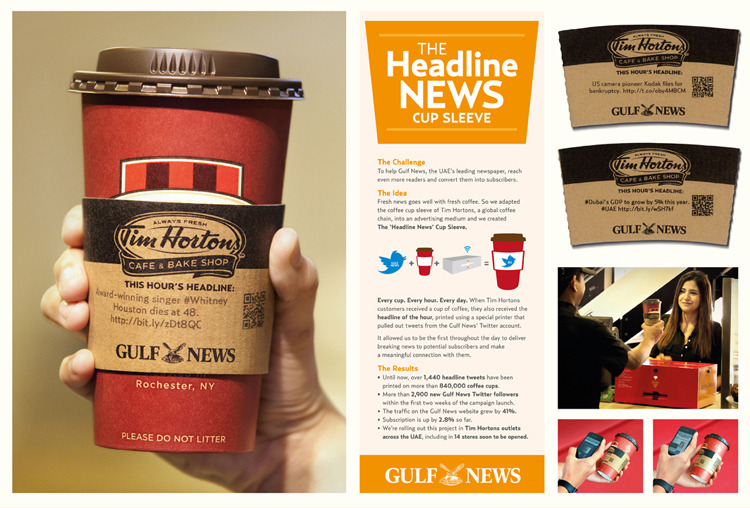 Image result for headline news time coffee cup advertising