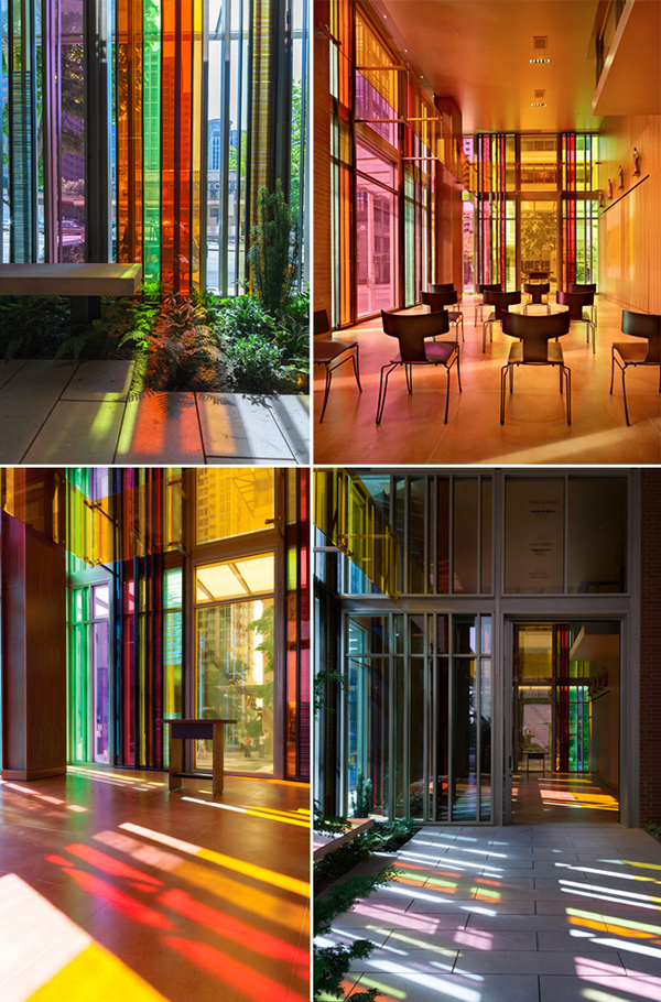 Glass Panels Reflect Kaleidoscope Of Color In A Church