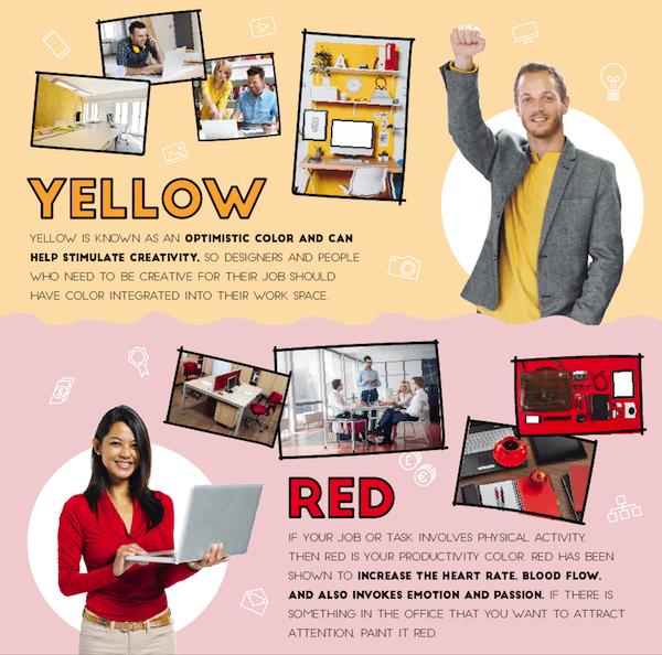 Infographic how colors affect office productivity for Office design and productivity