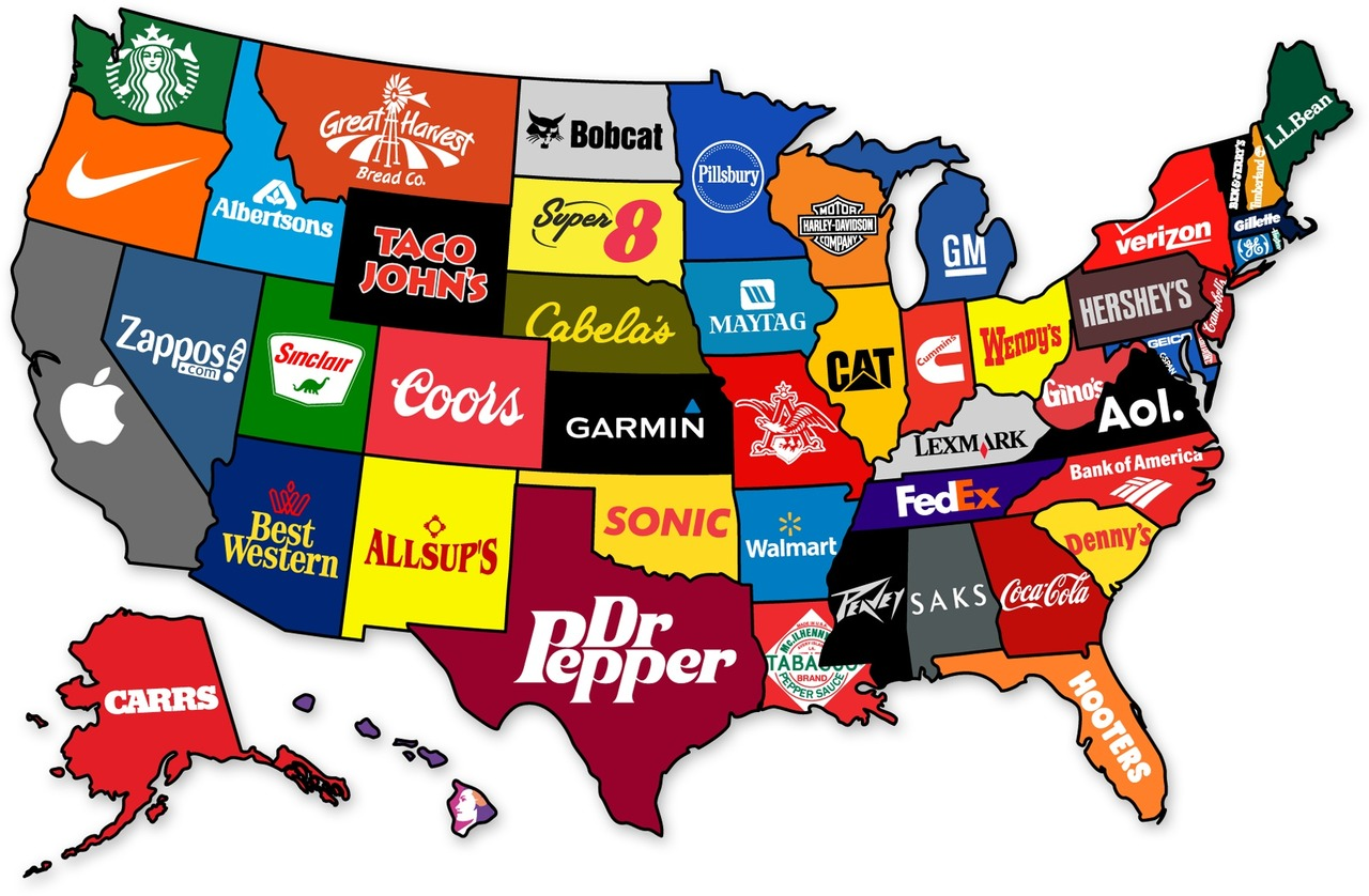 Map Shows The Most Famous Brand From Each State Of The US ...
