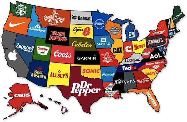 Map Shows The Most Famous Brand From Each State Of The US