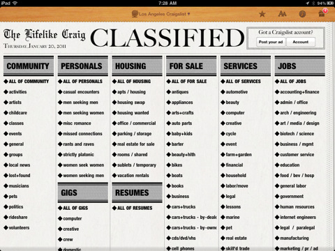 Ipad app turns craigslist into a newspaper for News section design